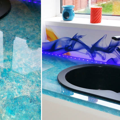 Deep Cast Kitchen Surfaces with Glitter Effect